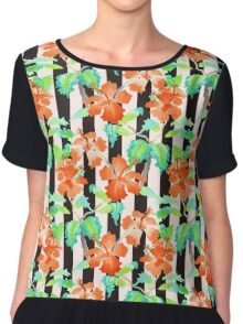 Watercolor Orange Hibiscus Black White Stripes Pattern Chiffon Top