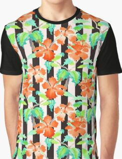 Watercolor Orange Hibiscus Black White Stripes Pattern Graphic T-Shirt