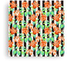 Watercolor Orange Hibiscus Black White Stripes Pattern Canvas Print