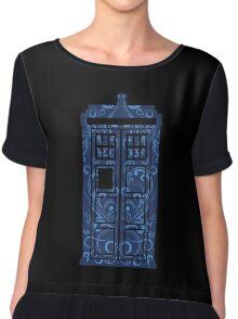 Blue Filigree TARDIS Chiffon Top