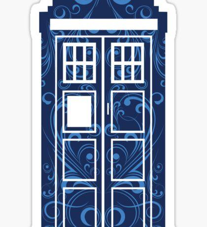 Blue Filigree TARDIS Sticker
