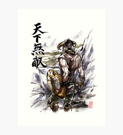 Unbeatable Dragonborn Sumi/watercolor Art Print