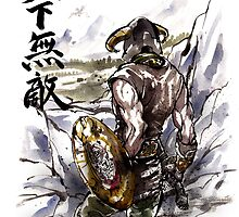 Unbeatable Dragonborn Sumi/watercolor by Mycks