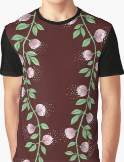 Pink Paper Flower Vine Graphic T-Shirt