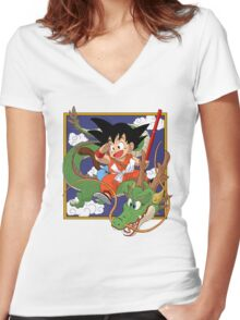 little son gokuu with dragon Women's Fitted V-Neck T-Shirt