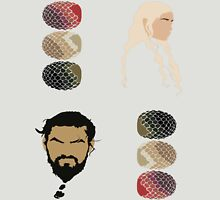 Game of Thrones (+4 Sticker Pack) - Khal Drogo, Daenerys & Dragon Eggs Unisex T-Shirt