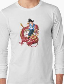son goku with red dragon Long Sleeve T-Shirt