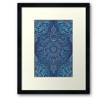 Aqua, Cobalt Blue & Purple Protea Doodle Pattern Framed Print