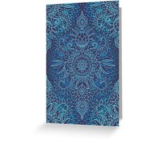 Aqua, Cobalt Blue & Purple Protea Doodle Pattern Greeting Card