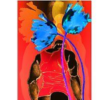 Man in Orange Blue Tulips Photographic Print