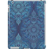 Aqua, Cobalt Blue & Purple Protea Doodle Pattern iPad Case/Skin