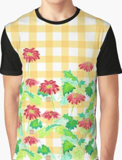 Watercolor Red Gerbera Gingham Yellow Weave Pattern Graphic T-Shirt