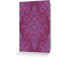 Magenta, Pink & Coral Protea Doodle Pattern Greeting Card