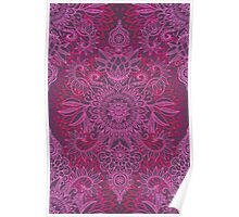 Magenta, Pink & Coral Protea Doodle Pattern Poster