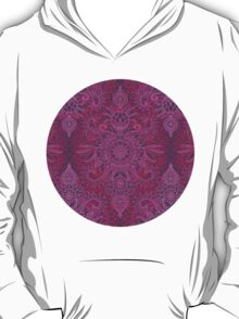 Magenta, Pink & Coral Protea Doodle Pattern T-Shirt