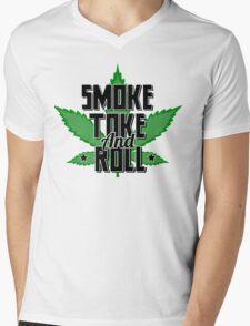 Smoke, Toke and Roll Mens V-Neck T-Shirt
