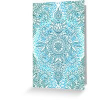 Turquoise Blue, Teal & White Protea Doodle Pattern Greeting Card