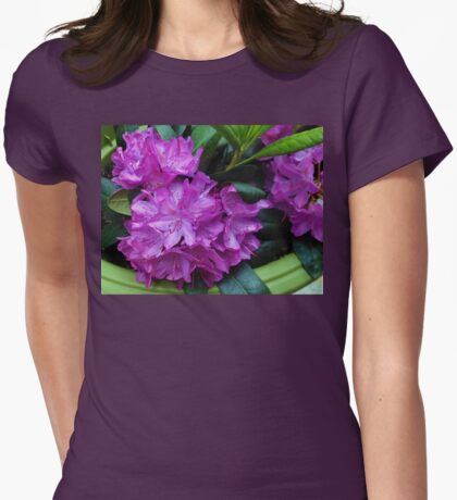 Vibrant Rhododendron Blossoms Womens Fitted T-Shirt