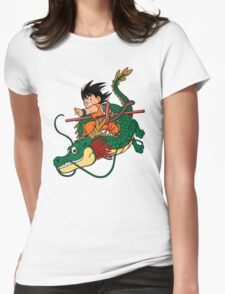 little goku with dragon Womens Fitted T-Shirt