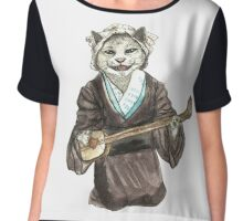 A Singing Cat Playing Samisen Chiffon Top
