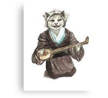 A Singing Cat Playing Samisen Canvas Print