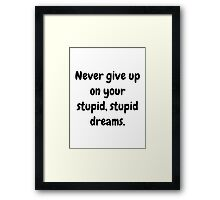 Never give up on your stupid dreams funny sarcasm joke gift Framed Print