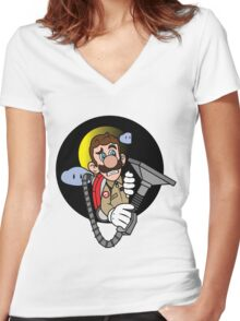 Luigi a Ghost buster Women's Fitted V-Neck T-Shirt