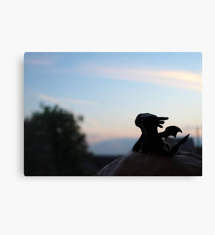 Tiny Toothless watching the sunset. Canvas Print