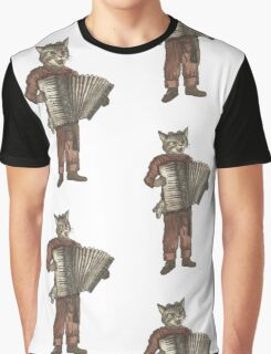 Accordion Cat with Goggles and Mask Graphic T-Shirt