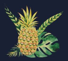 Kids Tropical Pineapple Tee One Piece - Long Sleeve