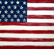 Abstract Painting, Large Wall Art Print of DISTRESSED FLAG, american flag art  by hollyanderson