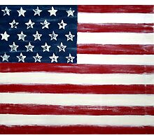 Abstract Painting, Large Wall Art Print of DISTRESSED FLAG, american flag art  Photographic Print