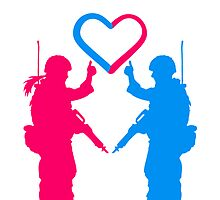 Soldiers couple love heart woman girl man boy by Style-O-Mat