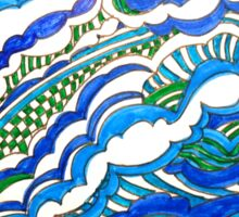 BLUE AND GREEN WAVES Sticker