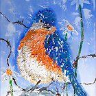 Blue Bird Winking by Alma Lee