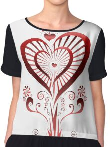 Heart Flower (2) Women's Chiffon Top