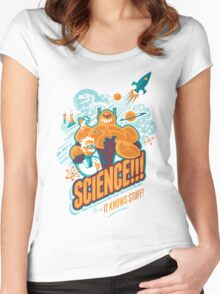 Science!!! It Knows Stuff! (blue) Women's Fitted Scoop T-Shirt