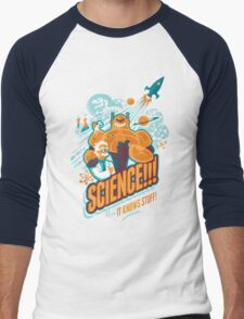 Science!!! It Knows Stuff! (blue) Men's Baseball ¾ T-Shirt