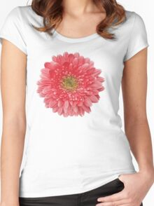 Coral Gerbera Gerber Daisy Flower Floral Women's Fitted Scoop T-Shirt