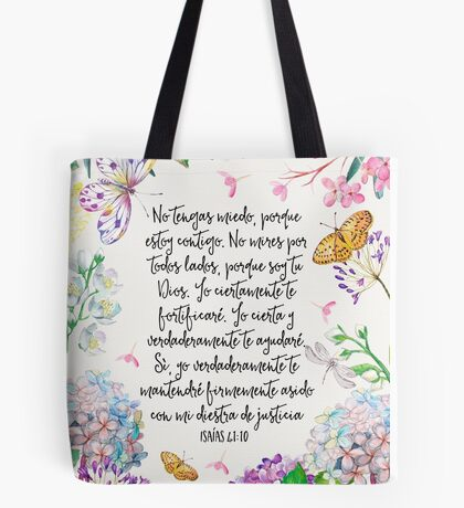 Isaias 41:10 (Flowers and Butterflies) Tote Bag