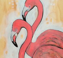 Flamingoes by Cat Lee