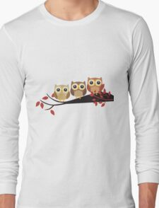 Perched Cartoon Owls Long Sleeve T-Shirt