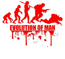 Evolution of Man Krieg Tot War Krieger Dumm by Style-O-Mat