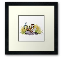 Calvin And Hobbes mapping Framed Print