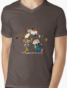 hobbes and calvin time advanture Mens V-Neck T-Shirt