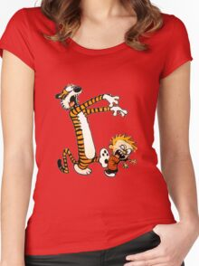zombie calvin hobbes Women's Fitted Scoop T-Shirt