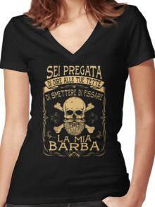 Smettere Di Fissare La Mia Barba Women's Fitted V-Neck T-Shirt