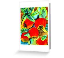 Juicy Red Apples watercolour fruit art Greeting Card