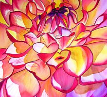 Pink Dahlia macro flower watercolour art by grosselart