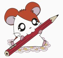 Hamtaro with pencil & flowers One Piece - Short Sleeve